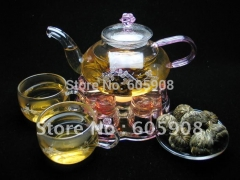 12 kinds  Blooming Tea Green Tea With Glass Teapot + Teacups+ Warmer