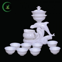 S/11 White Porcelain Teasets Automatic Tea Sets Puer Tea Green Tea Teapot Gaiwan Tea Cup