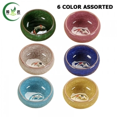 30ml 6 Colors Mixed Ice-Crackle Porcelain Tea Cup With Fish Pattern Ceramic Tea Cup Puer Tea Cup