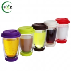 5 Different Styles High Quality Double Deck Heat-Resisting Glass Tea Cup Coffee Cup Juice Cup With Sillicone Cover
