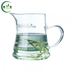 350ml Heat-Resistant Thick Glass Tea Cup With Olecranon Shaped Border & Crescent-shaped Strainer Black Tea Puer Tea Cup