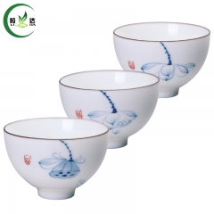 3 Different Styles White Porcelain Qin Hua Tea Cup With Lotus Flower Pattern Puer Tea Cup  White Tea Cup
