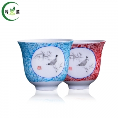 65ml Porcelain Gong fu Tea Cup With Applique Painting White Tea Cup