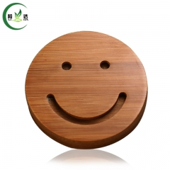 7.5x4cm 100% Round Trays With Smile Face Natural Bamboo Tea Cup Mat