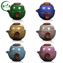 2pcs Ceramic With Cracked Ice Crackle Portable Teaset Cup With 1 Teapot+1 Cup