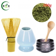 S/5 Ceramic Bowl+ Sky Blue Whisk Stand Chasen Holder+Bamboo Baibenli Whisk+Spoon+100g Match Powder