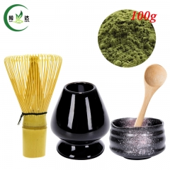 S/5 Ceramic Bowl+ Black Whisk Stand Chasen Holder+Bamboo Baibenli Whisk+Spoon+100g Match Powder