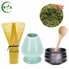 S/5 Ceramic Bowl+ Light Green Whisk Stand Chasen Holder+Bamboo Baibenli Whisk+Spoon+100g Match Powder