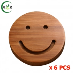 7.5x4cm 6pcs/Lot 100% Round Trays With Smile Face Natural Bamboo Tea Cup Mat