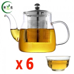 600ml Glass Teapot With Infuser Stainless Steel Filter Glass Kettle With 6pcs Glass Tea up