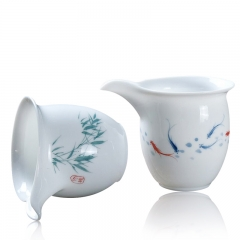 230ml High Quality White Porcelain Dong Dao Bei Serving Cup With Handmade Painting Puer Tea Cup Oolong Tea Serving Cup